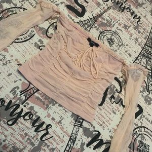 Light pink mesh ruched front long sleeve top